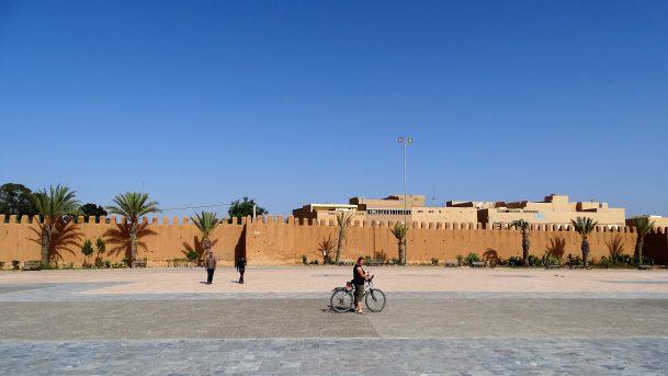 Katrien voor de oude stadsomwalling van Taroudant