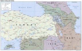 landkaart Georgië en Armenië